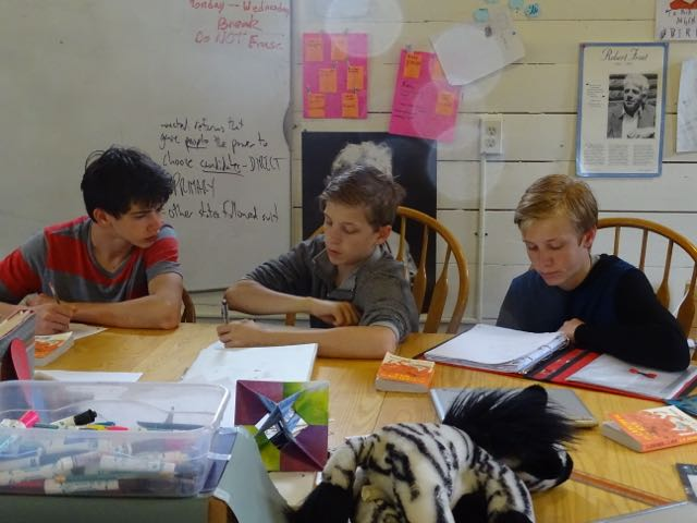 Sawyer, Lucas, and Nelson reviewed their vocabulary lists in English class this week.