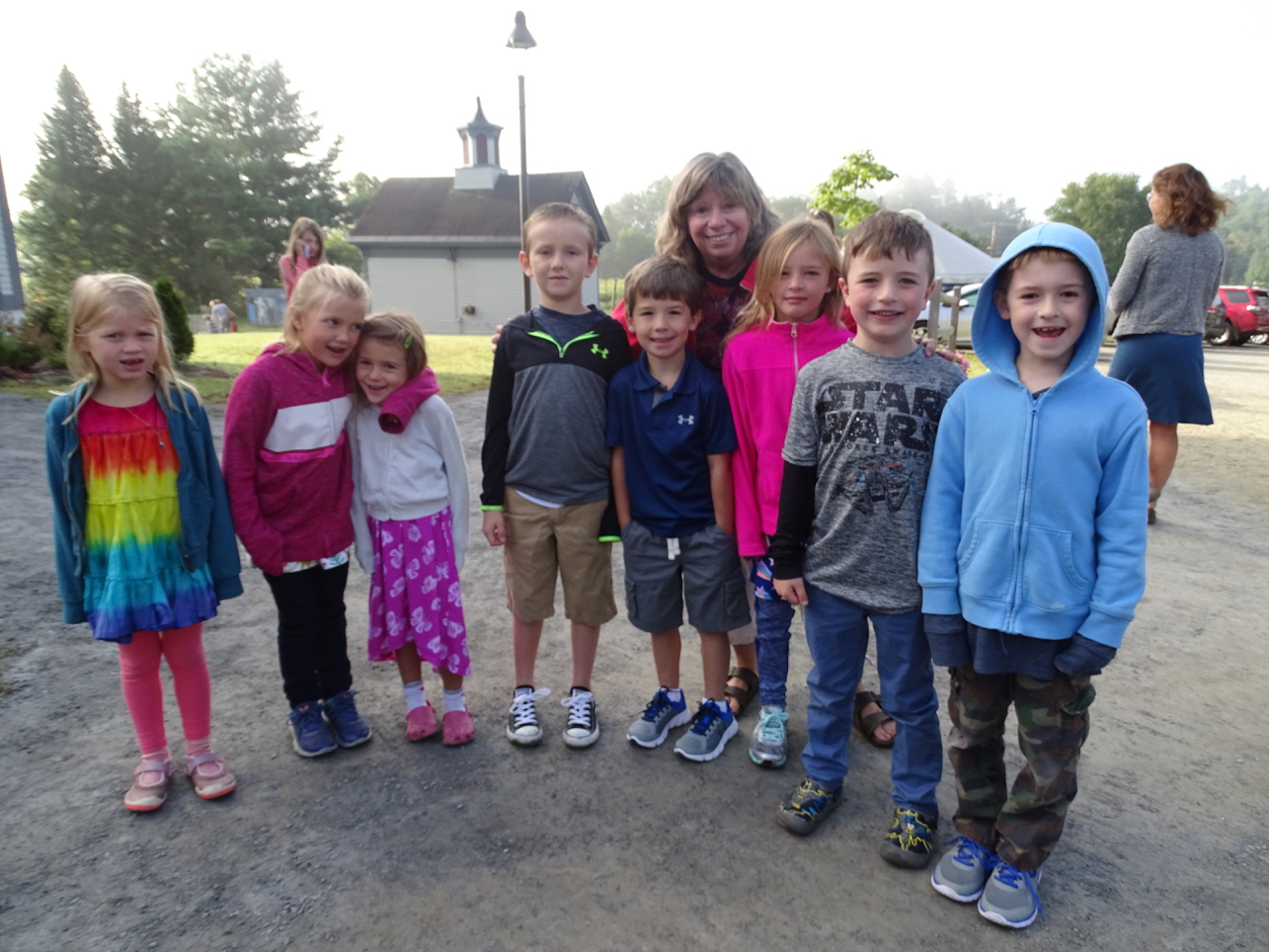 Mrs. Leferrier welcomed her first grade class before assembly: Isla, Lila, Cora, Cater, Will, Rylie, Conall,Micah