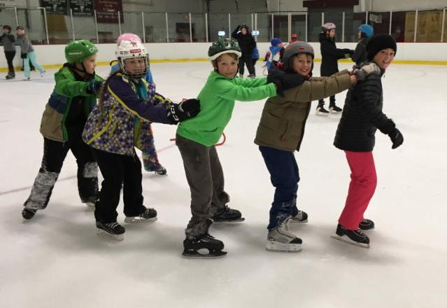 4th and 5th graders Sylvan, Gabi, Sam, Lyric, and Brooklyn skated together at the Fenton Chester arena last week.