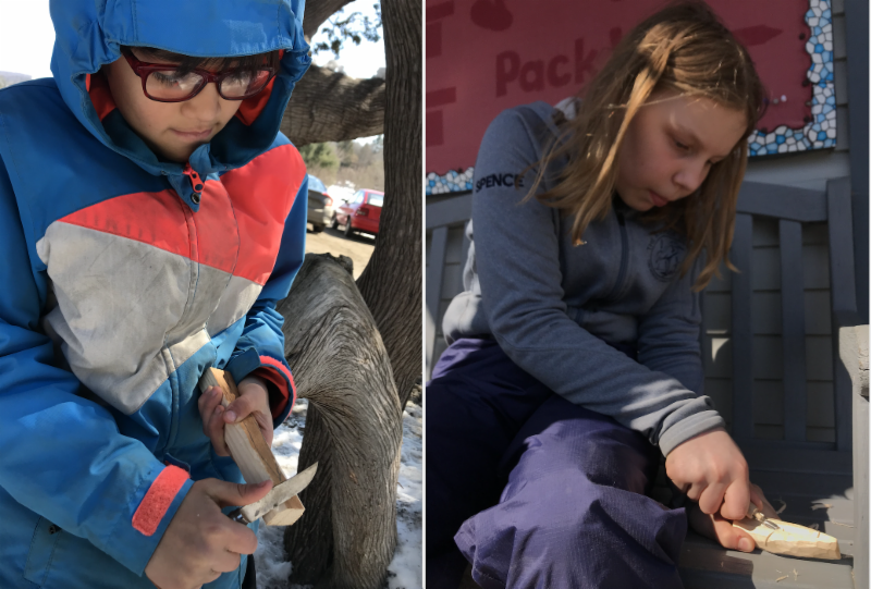 4th and 5th graders like Kingston and Julia have been carving and whittling balsa wood boats during their Birch Buddies weekly outdoor education time. They will be taking those boats to the stream soon.