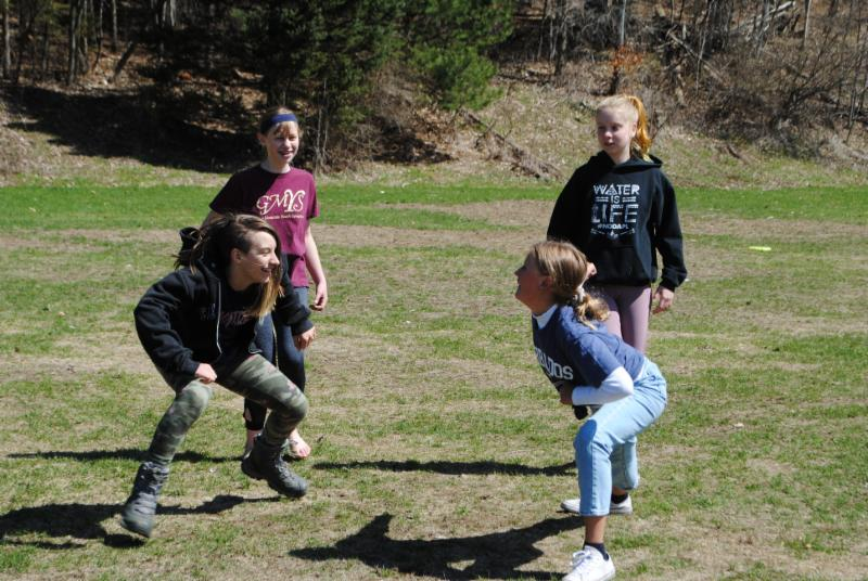7th graders Eliza, Maaike, Josie, and Cliona danced in the springtime sun during PE class this morning.