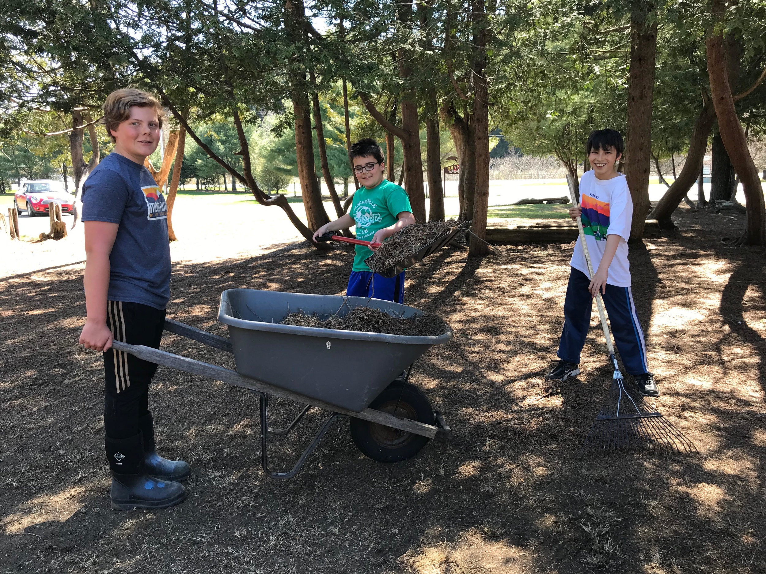 6th graders Nick, Harper, and Koji helped re-establish the grass in the cedar circle by raking out lots of sand and cedar needles last week. Let's cross our fingers that the space will be green again by graduation!