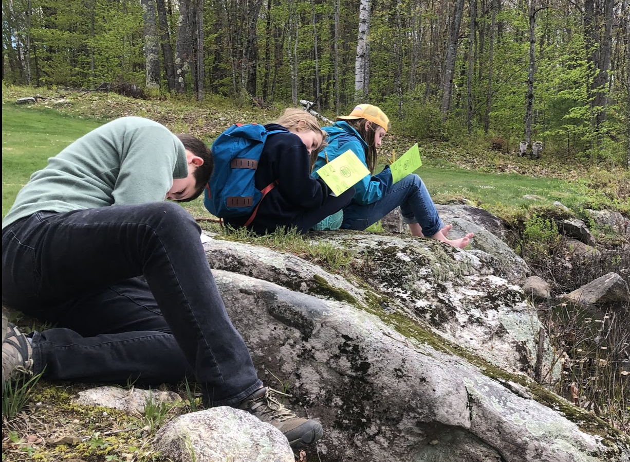 Maceo, Esme, and Lennon worked quietly in their journals during the 4-5th grade Spring Field Trip to the Ecology School in Maine last week.