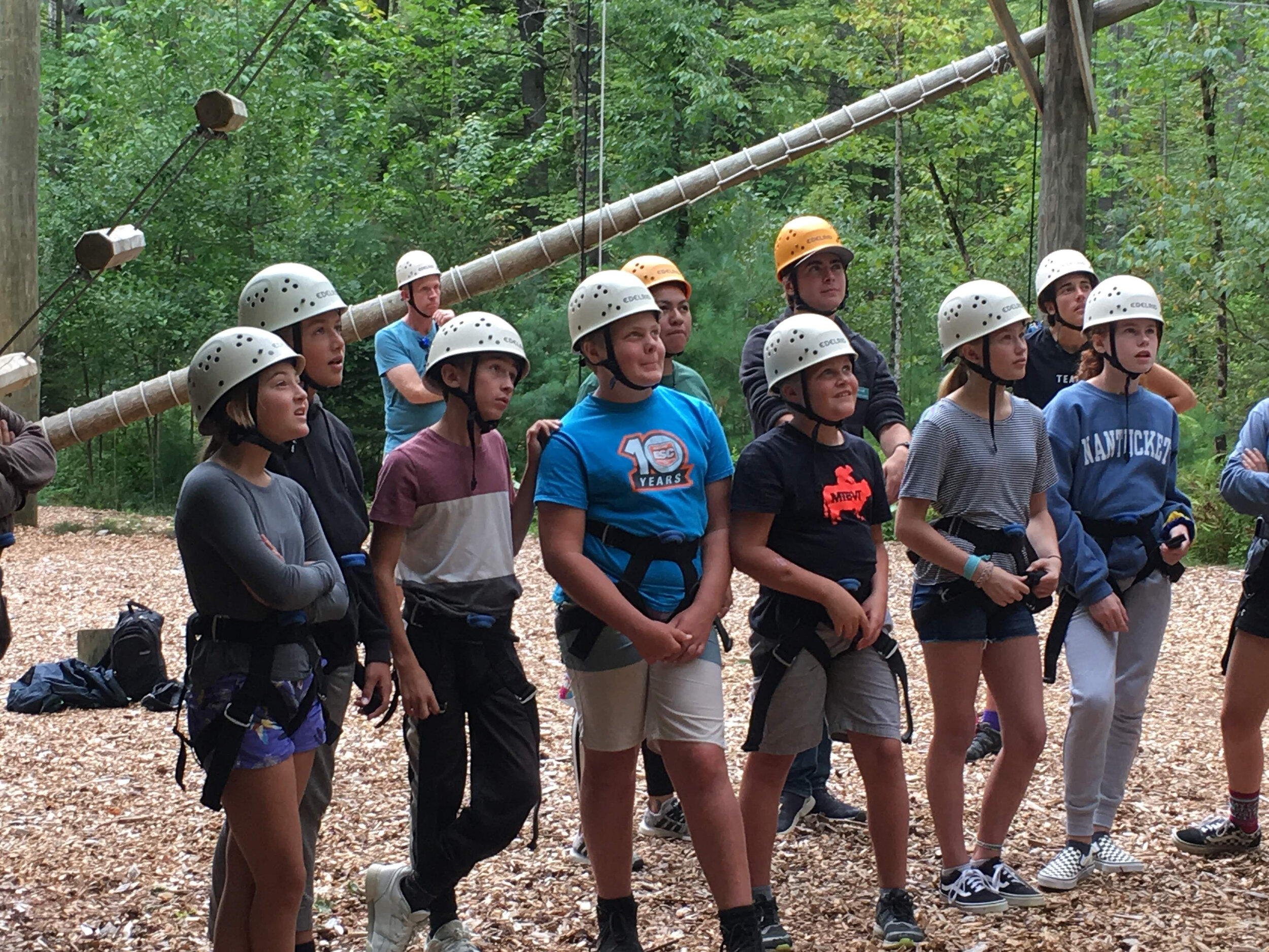 Brooklynn, Gus, CJ, Nick, Clint, Lacey, and Emily, from Aqua and Terra houses, listened carefully to the safety orientation and planned their personal challenges on the high ropes course at Hulbert Outdoor Center last week.