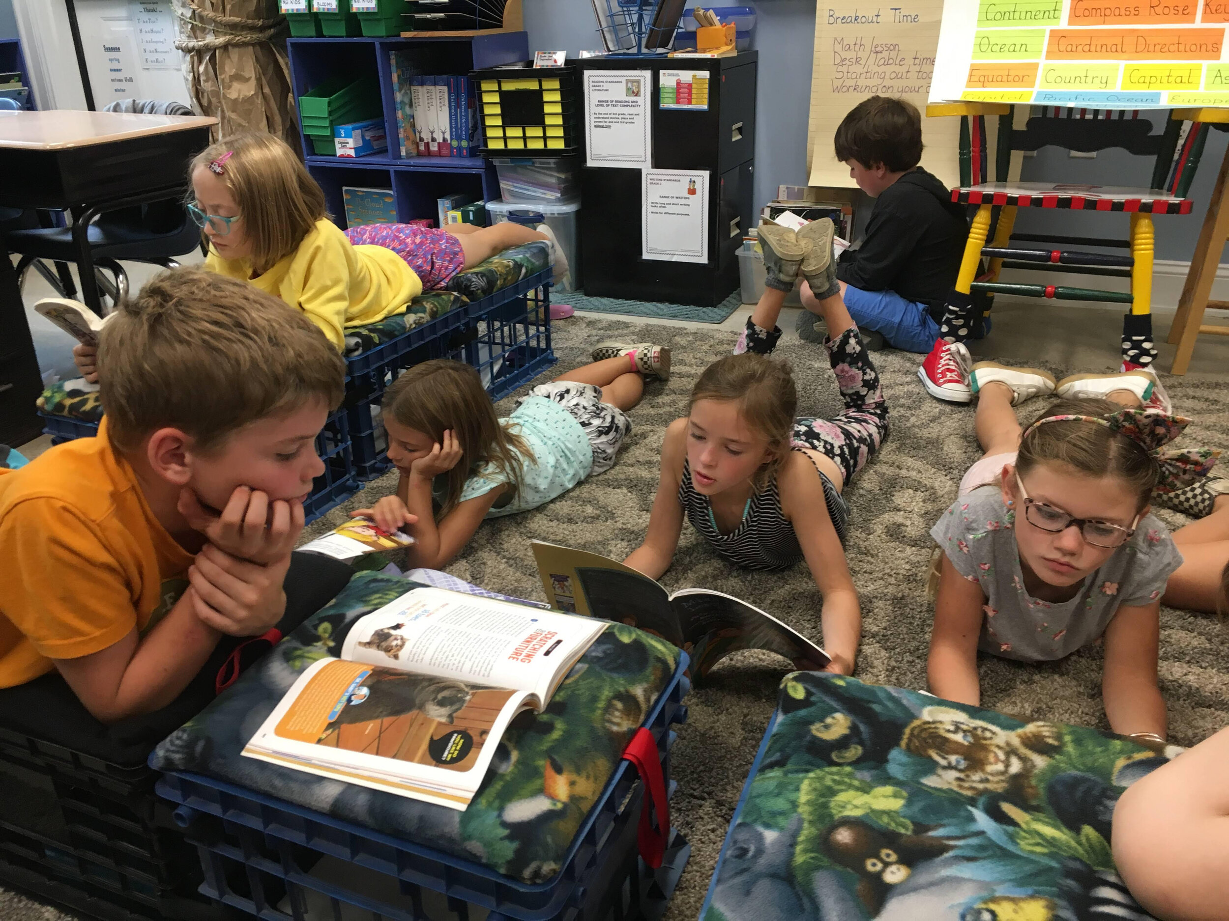 """Allee's 3rd graders, including Russell, Maggie, Cora, Rylie, Conall, and Louisa, always """"Drop Everything And Read"""" after lunch."""