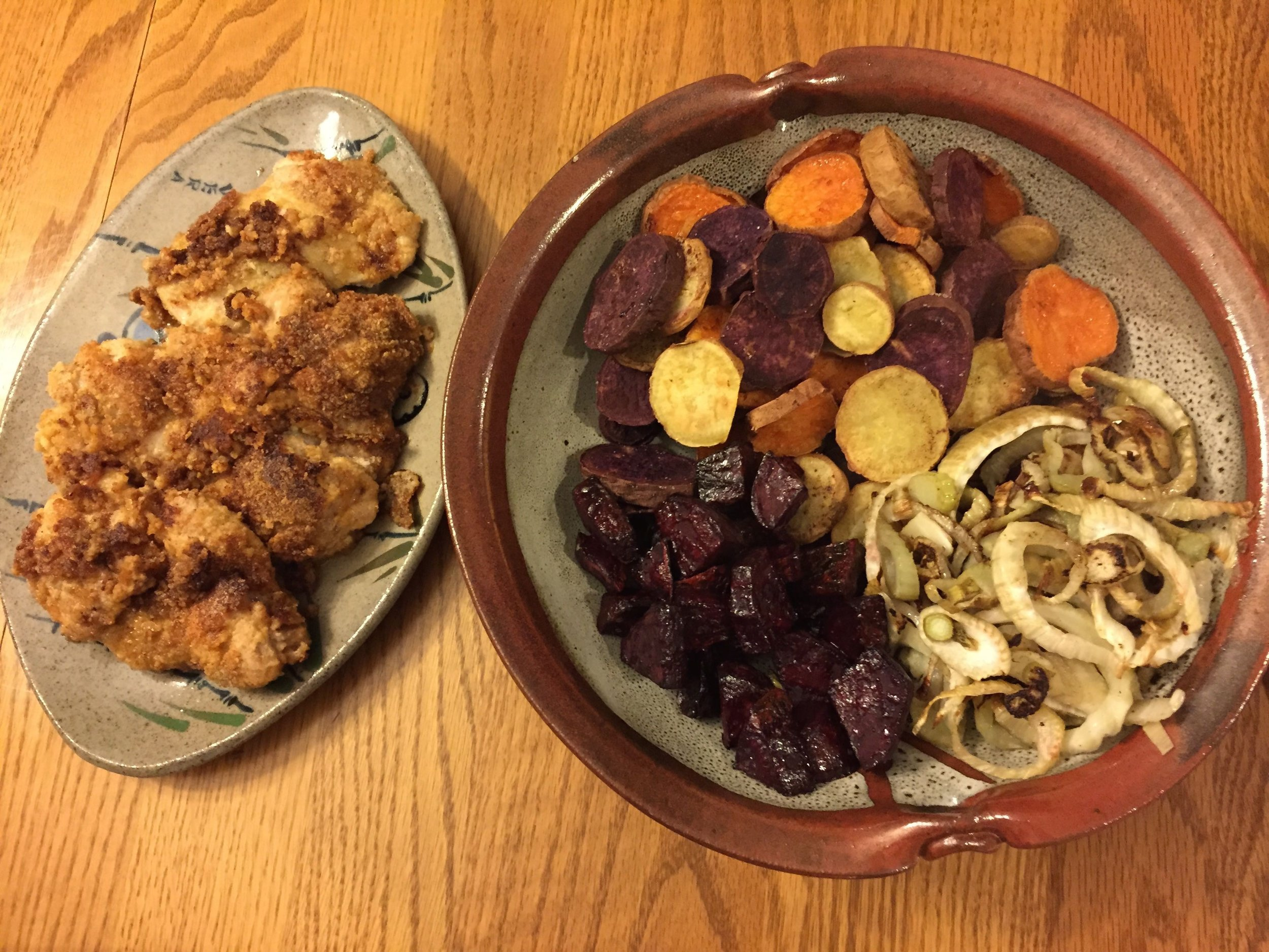 Paleo fried chicken and roasted root vegetables