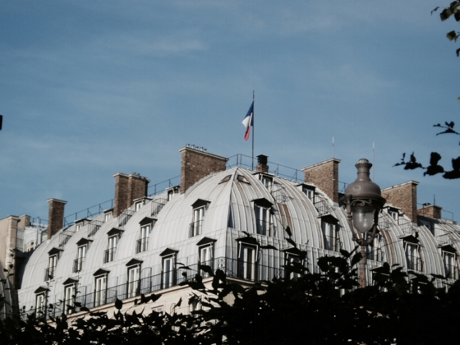 paris rooftop and french flag