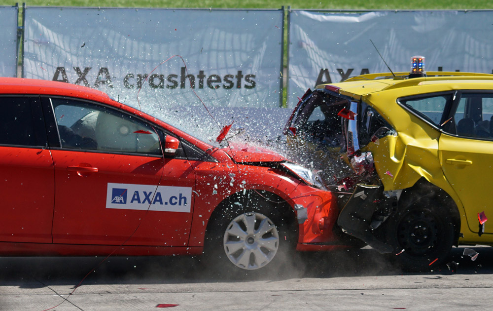 Crash test of a car