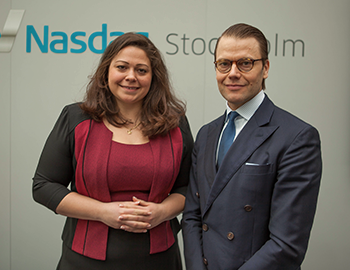 Prince Daniel of Sweden with Exponential's CEO, Claudia Olsson, during Future Focus 2016.