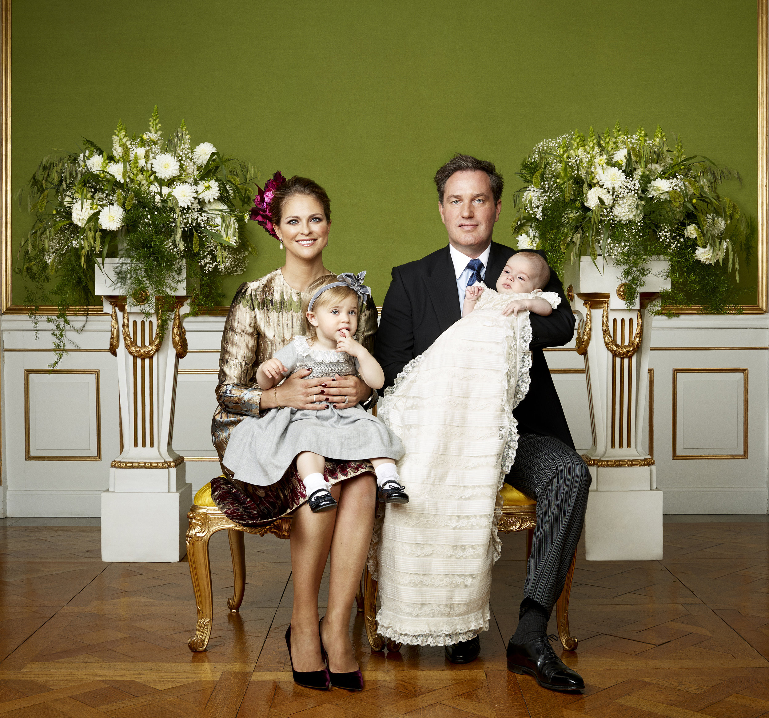 H.R.H. Prince Nicolas christening in Drottningholm Palace Chapel, October 11, 2015. Pictured here with his mother, Princess Madeleine; father, Christopher O'Neill; and sister, Princess Leonore. Photo: Mattias Edwall, The Royal Court, Sweden