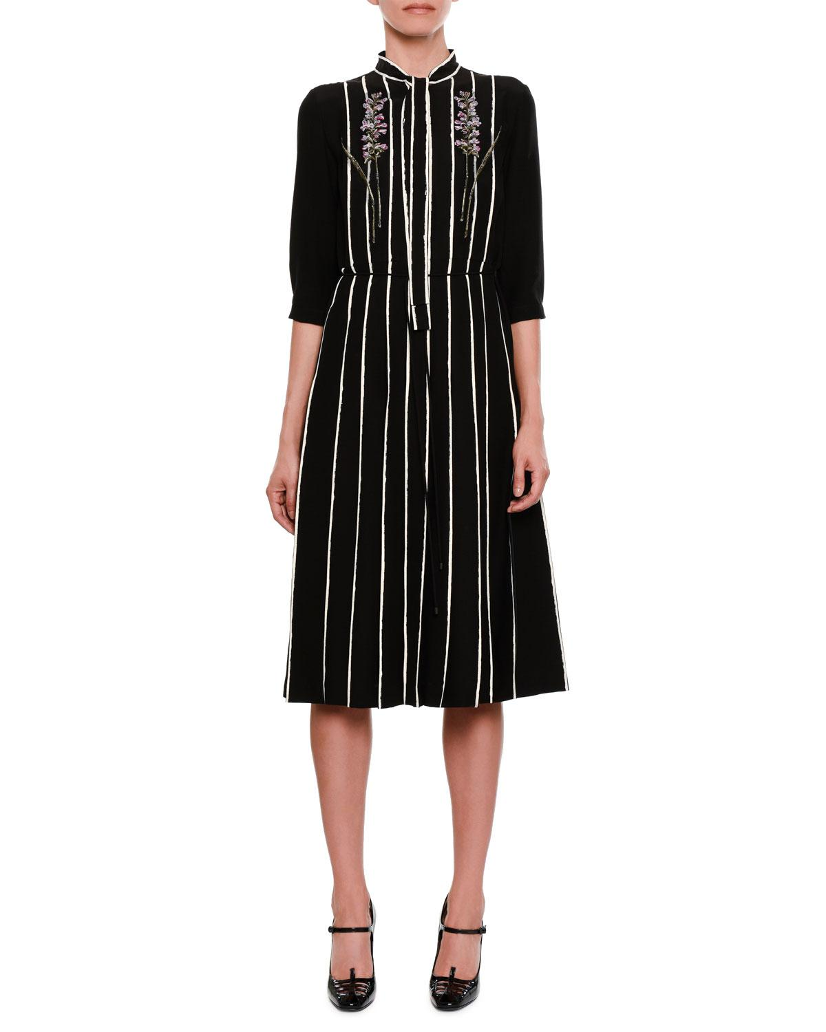 bottega-veneta-BLACKWHITE-Striped-Floral-embroidered-Tie-neck-Dress.jpeg