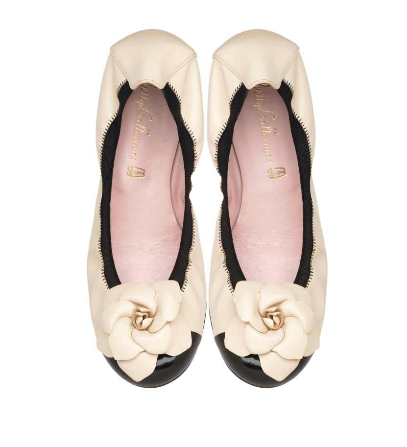 Pretty Ballerinas Shirley black white flower shoes MO.jpg