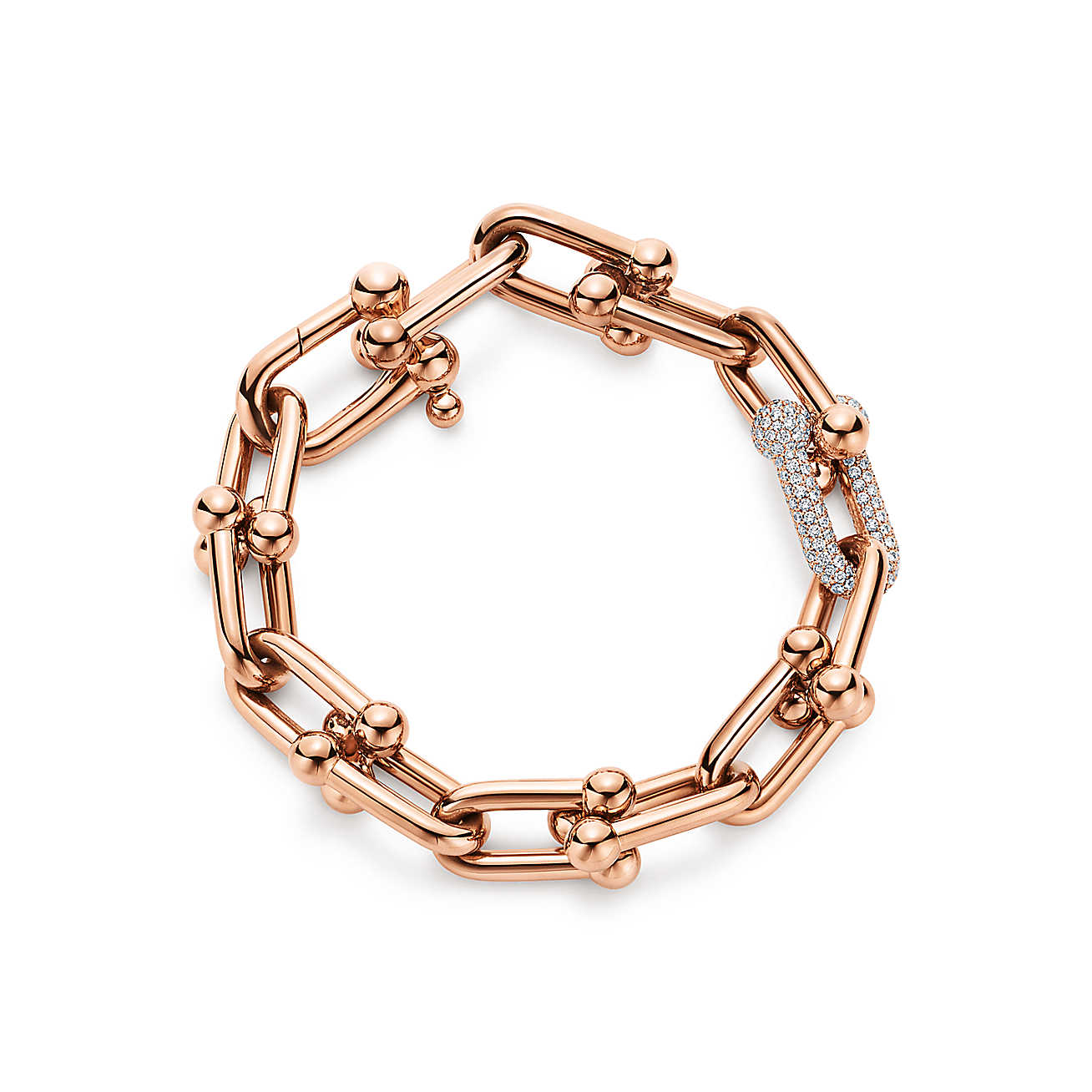 Tiffany HardWear Link rose gold diamond bracelet MO.jpg