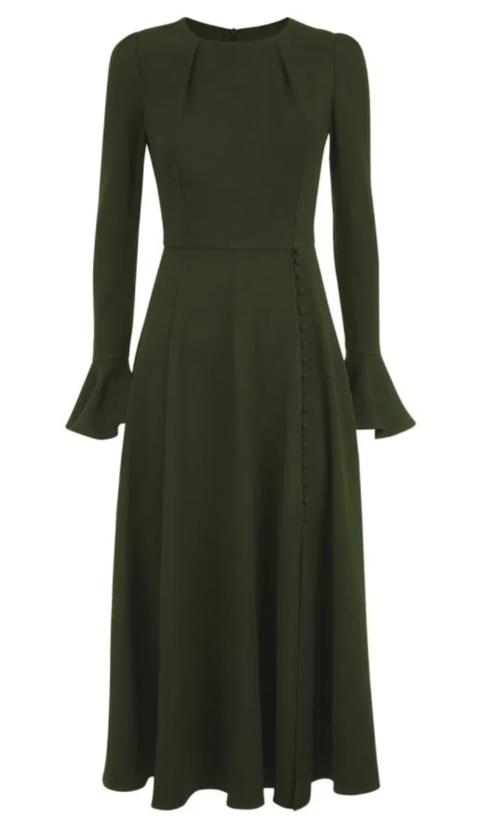 Beulah London Yahvi Midi Dress in Olive