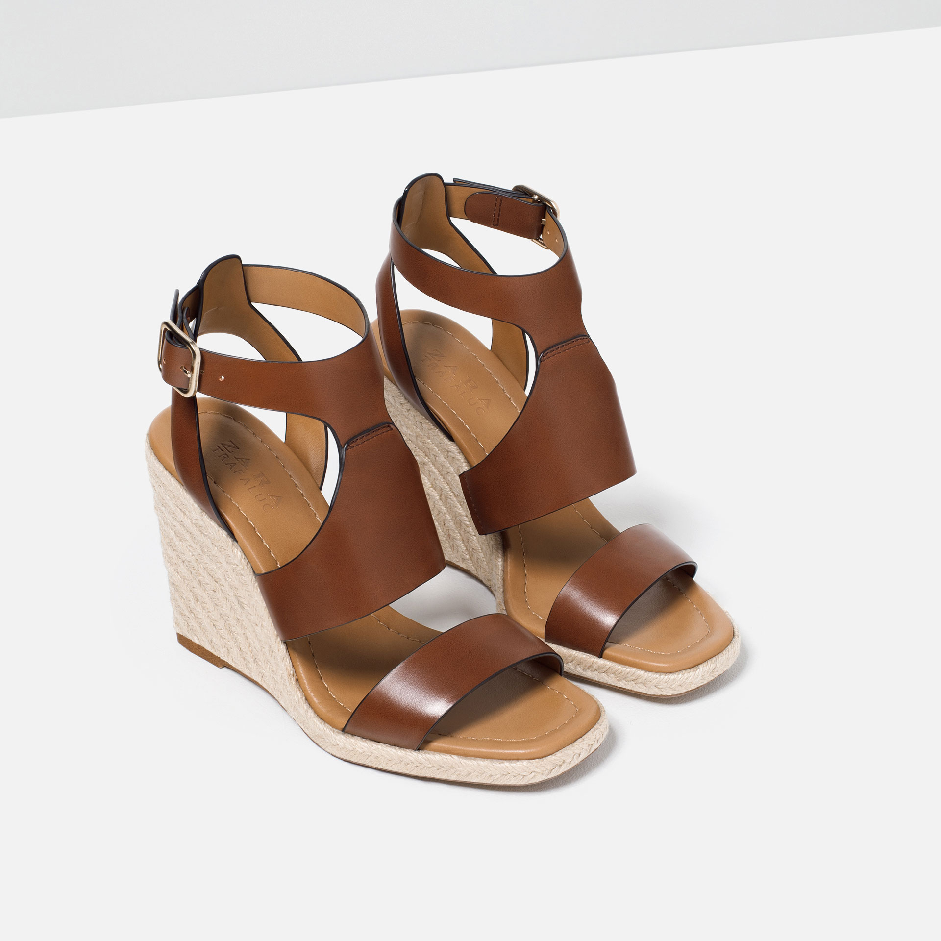 Zara Espadrilles Wedge Sandals in Brown