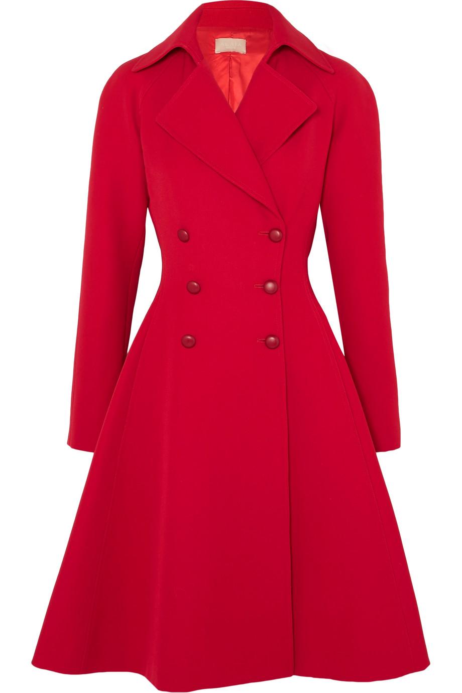 Alaïa Double-Breasted Wool-Gabardine Coat in Red.jpg