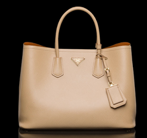 Prada Saffiano Double Bag in Tan