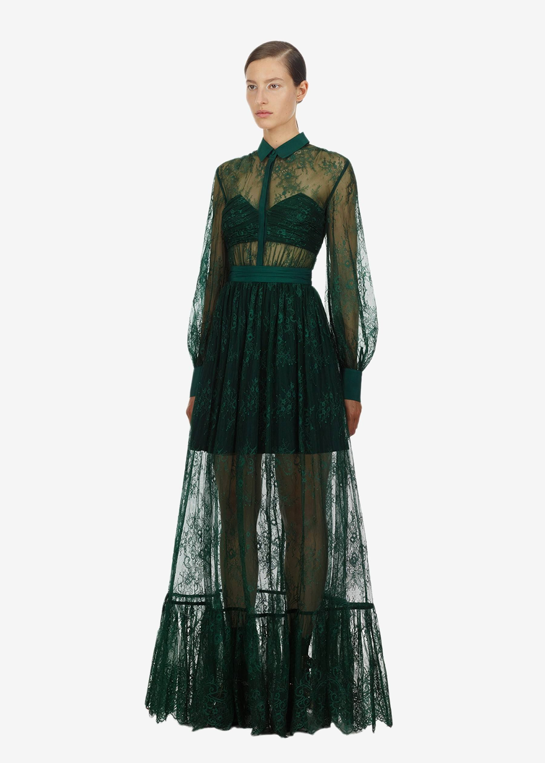 Self-Portrait Floral Fine Lace Gown in Green.jpg