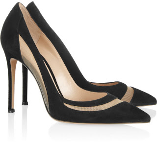 Gianvito Rossi Mesh-Paneled Pumps in Black Suede