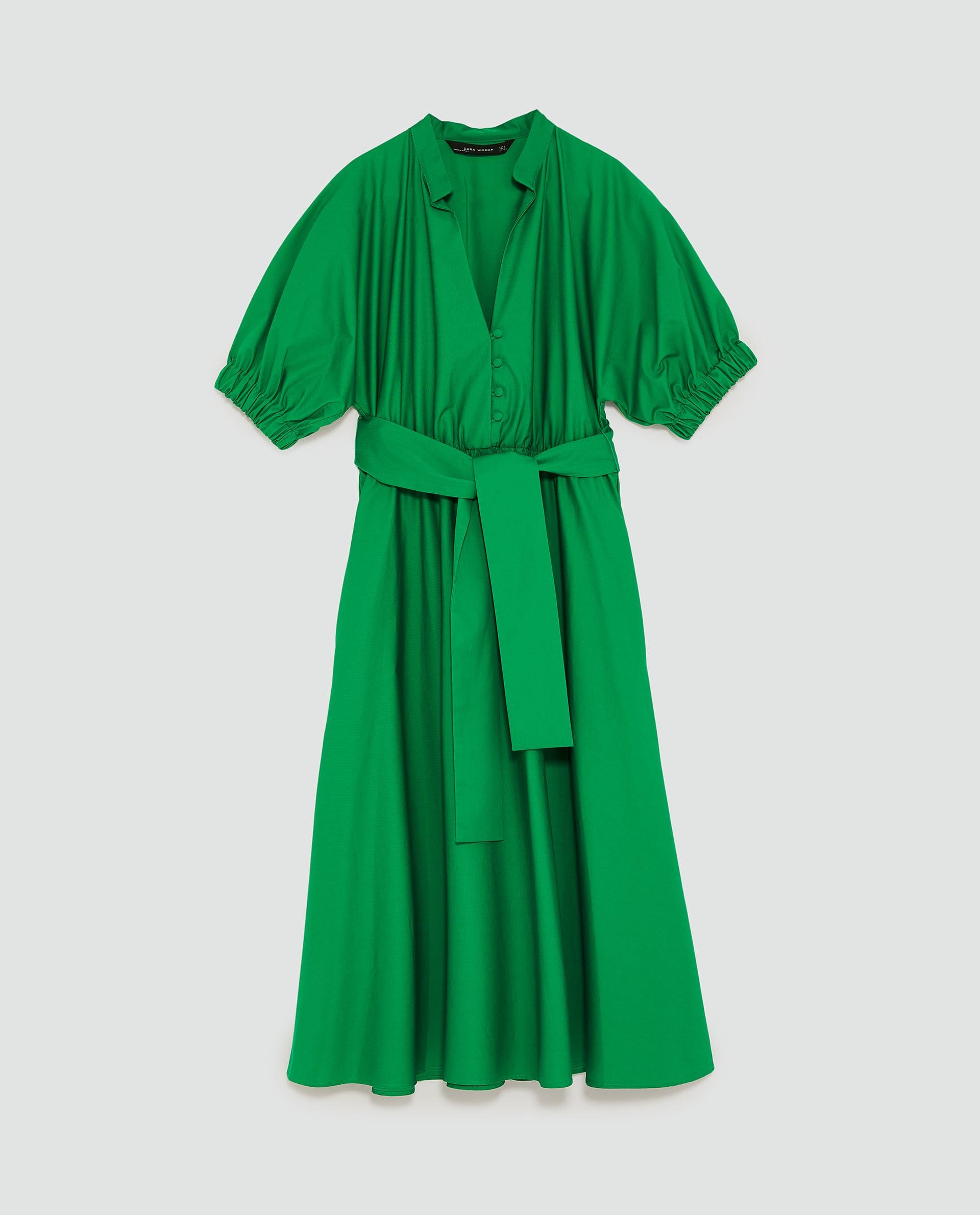 Zara Midi Dress with Voluminous Sleeves in Green.jpg