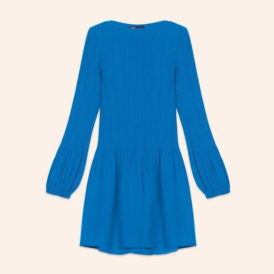 Maje Rockin Pleated Dress in Blue.jpg