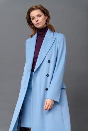 Strenesse Long Cut Virgin Wool Coat In Blue Ufo No More