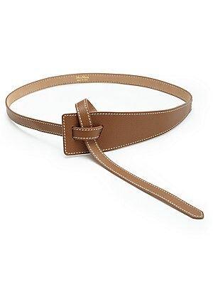 Max Mara Frais Leather Belt in Tan