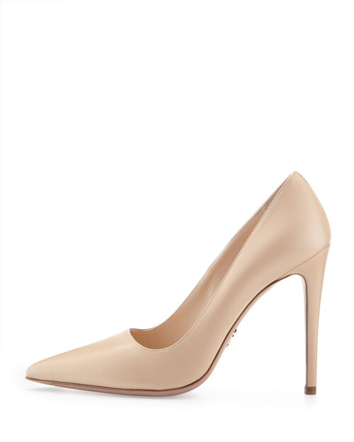 Prada Pointed Toe 100 Pumps in Beige Leather