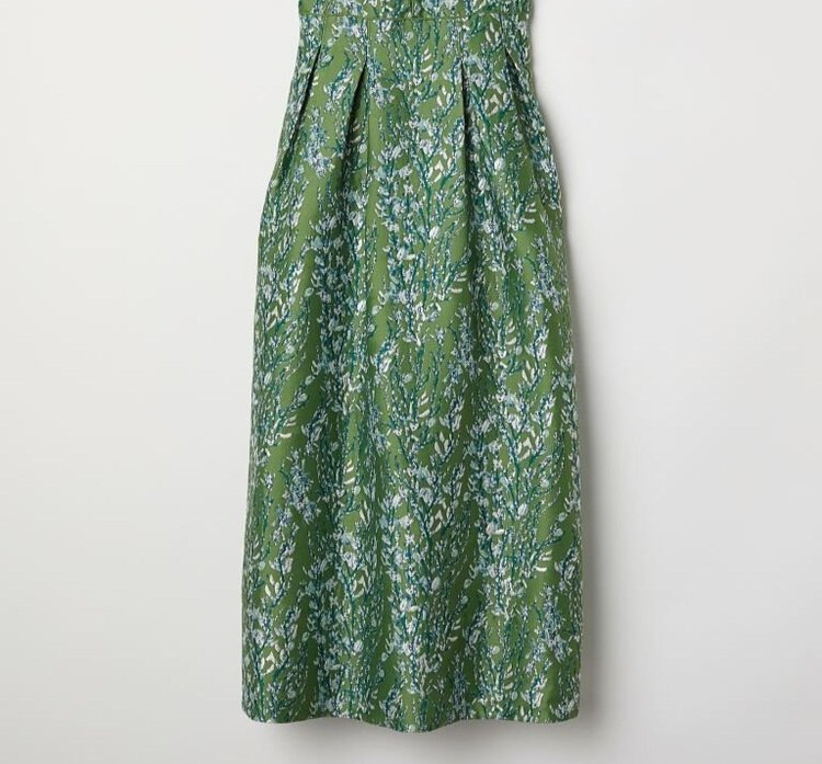 H&M Conscious Collection Jacquard-Patterned Skirt in Green