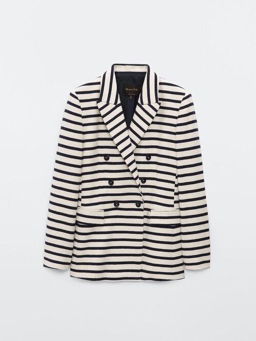 Massimo Dutti Double Breasted Striped Blazer in Cream