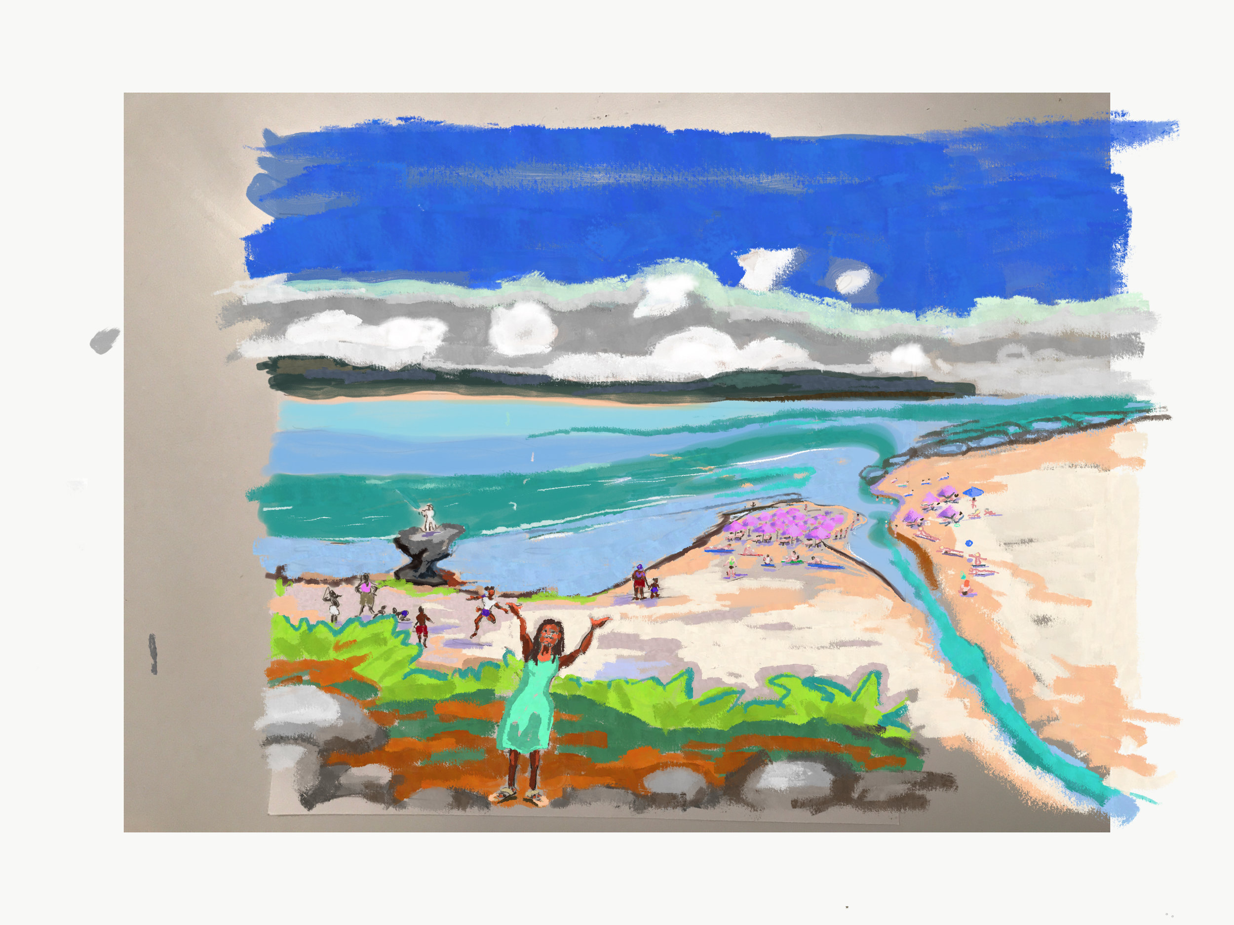 Lindy's Mural Design of a segregated beach area during Apartheid known as Pulpit Rock