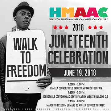HMAAC's 6th Annual Walk to Freedom honoring the historical travel of freed slaves from Galveston to establish Freedmen's Town in Fourth Ward Houston. After a program on Juneteenth at the museum during which they are given tickets to the Miller Outdoor Theater concert, celebrants walk to Miller Outdoor Theater for the reading of the Emancipation Proclamation and concert.