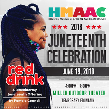 One day only! This Juneteenth, join New York-based visual artist Pamela Council and The Houston Museum of African American Culture (HMAAC) for   Red Drink: A BLAXIDERMY Juneteenth Offering  , a temporary fountain sculpture installation from 4:00 - 7:00 pm, Houston's Miller Outdoor Theatre, 6000 Hermann Park Drive. In this outdoor sculpture, Council presents a palm tree shaped fountain filled with over 800 gallons of Big Red soda. Guests are welcome to participate in a new ritual performance with the fountain: dip styrofoam cups in the soda, toast to freedom, and pour out a bit of this celebratory drink for the ancestors.   Sticky - Sweet - Nostalgic -Restorative!