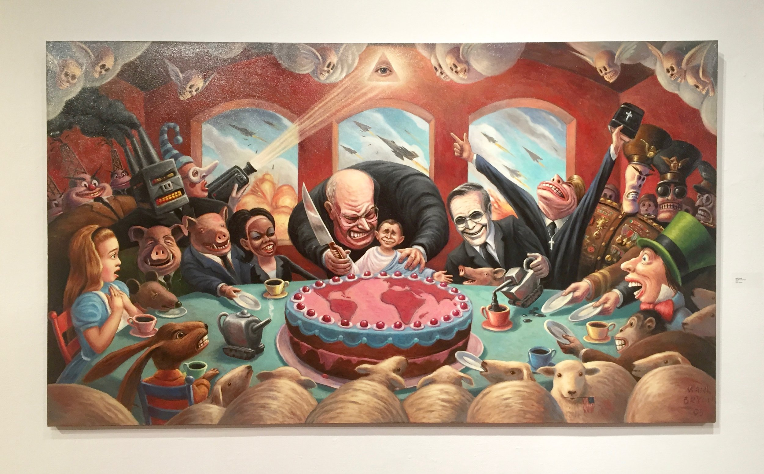Mark Bryan,  The Mad Tea Party  (2005). Note sheep in foreground.