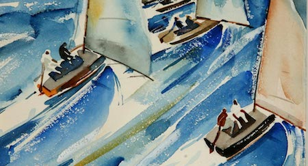 Cropped view of Phil Dike,  Regatta (1938). For a more complete (but logo-stamped) version of this painting visit cascenemuseum.org