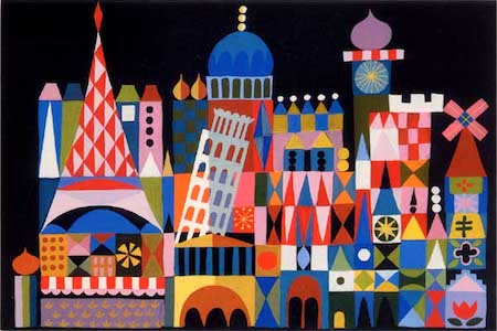 Mary Blair production art for Disneyland's  It's a Small World , not in Hilbert Collection but much like the work that is.