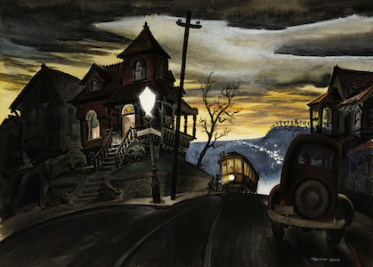 Preston Blair,  Bunker Hill Cable Car  (1938). Not a member of the Watercolor Society, Mary Blair's brother in law broke away from Disney in '41 and spent the rest of his career animating for rivals.