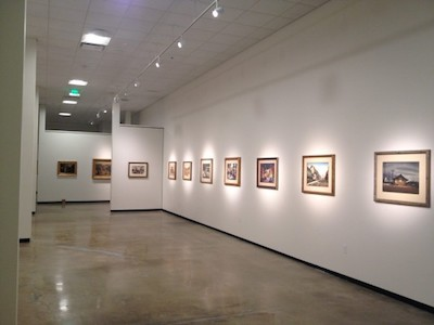 Interior of Hilbert galleries. Millard Sheets watercolor at far right.