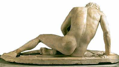 The Dying Gaul:  ancient Roman marble copy of (lost)Greek sculpture
