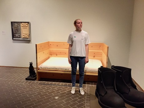 Donald Judd  Bed , Sophie for scale, and  Boots III  (1992) by Donald Oates