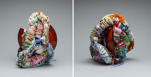Ramekon O'Arwisters, two views of Mending #16, 2017, fabric, ceramic, 17 x 10 x 9 inches