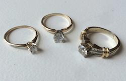 Stephanie's three engagement rings