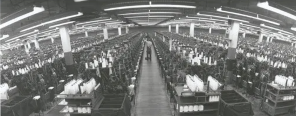 Hanes textile mill interior, Forsyth County, NC, 1960