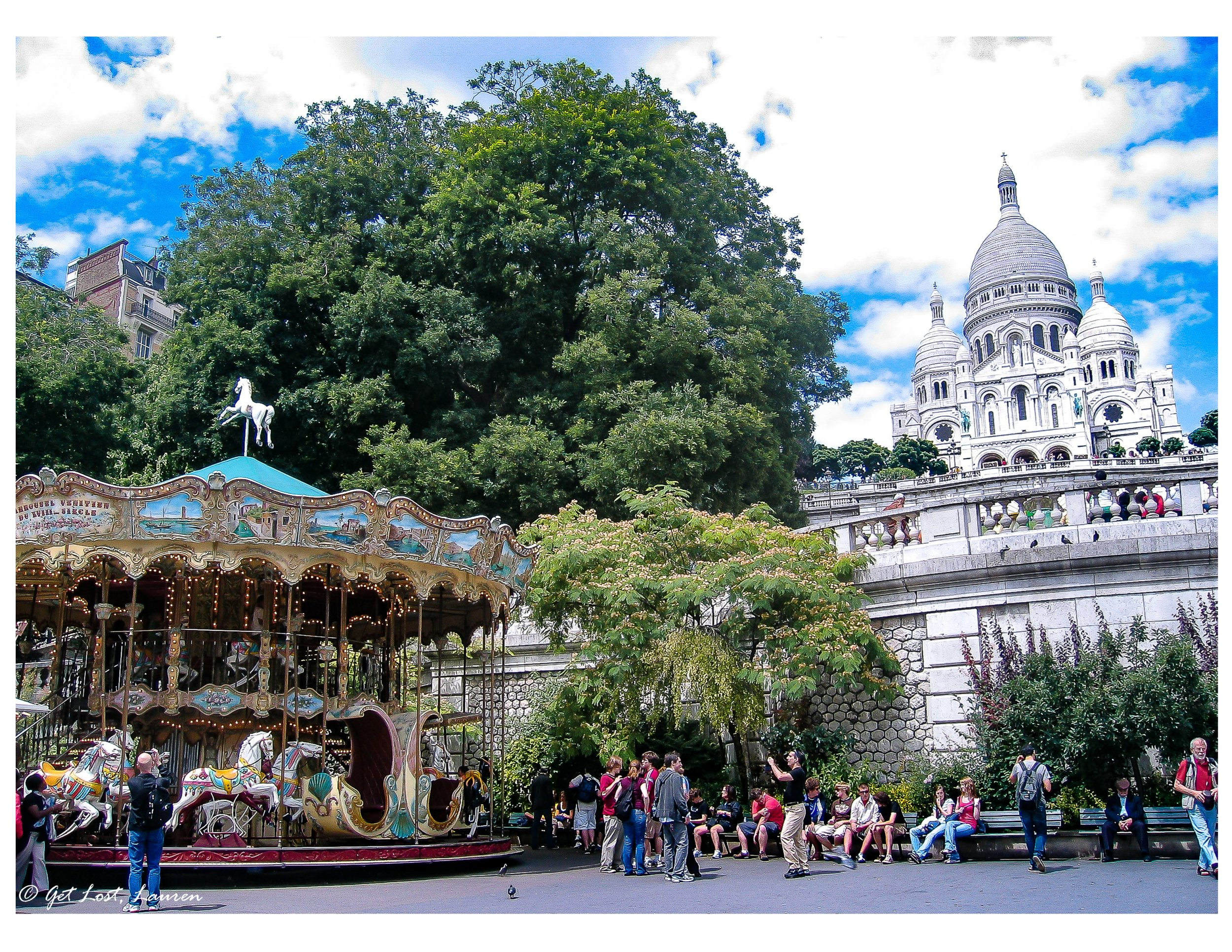 The long climb up to the Sacre Coeur begins with a merry-go-round.