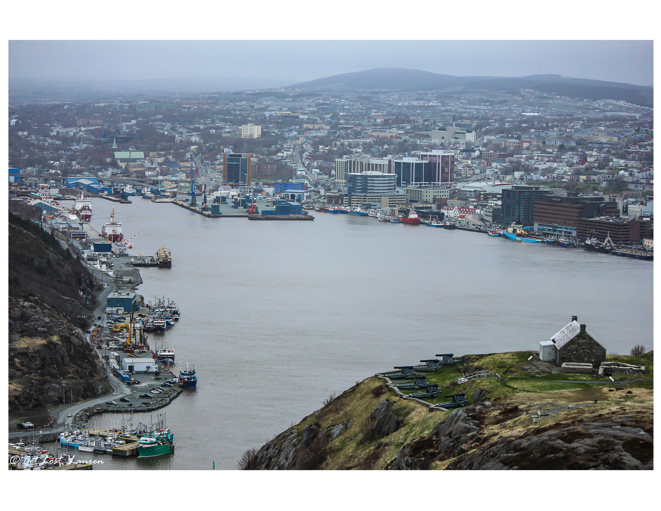 Closer look at the harbor and downtown St. John's from Signal Hill.