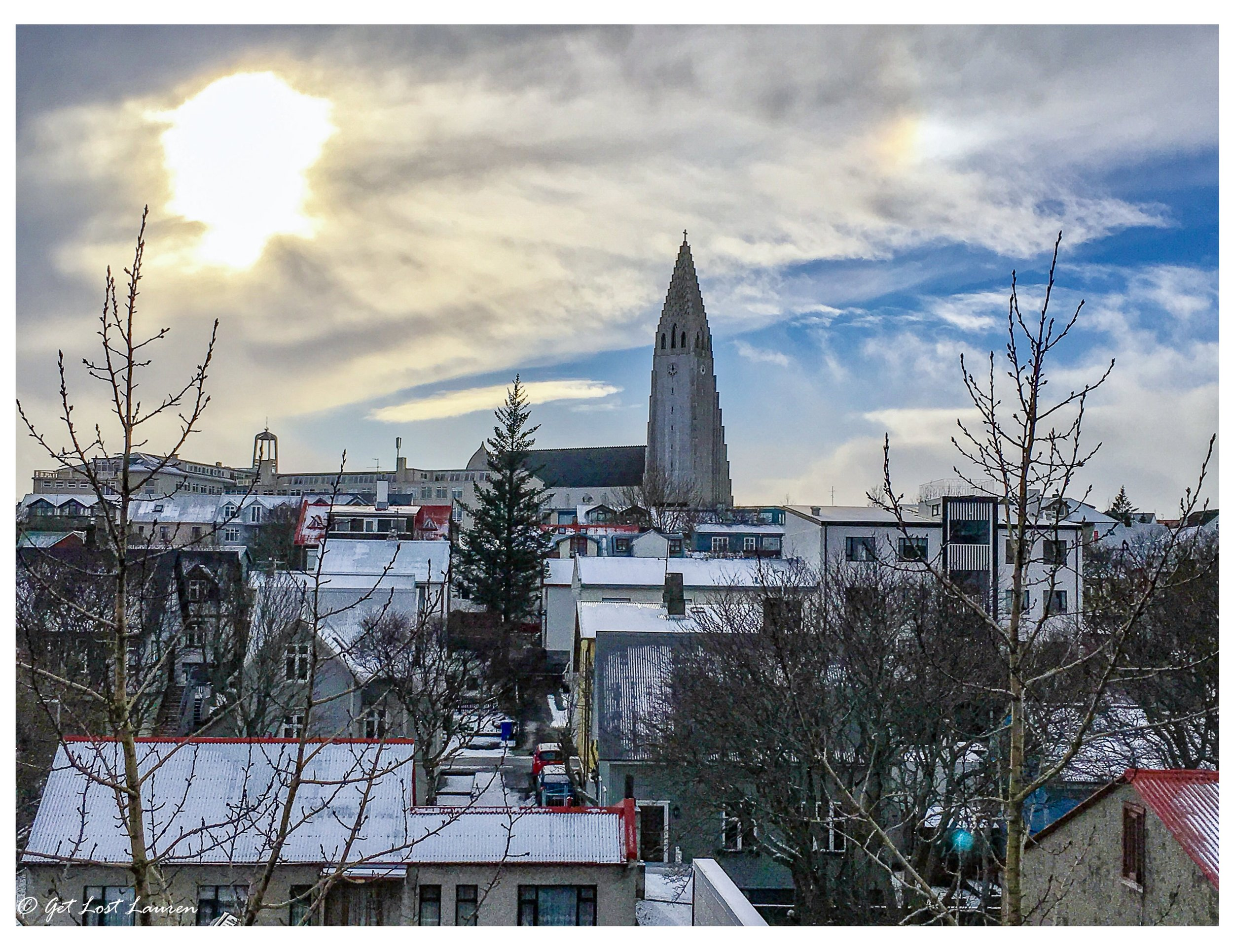 View of Hallgrímskirkja church in Reykjavik the day of our arrival from our penthouse apartment rental.