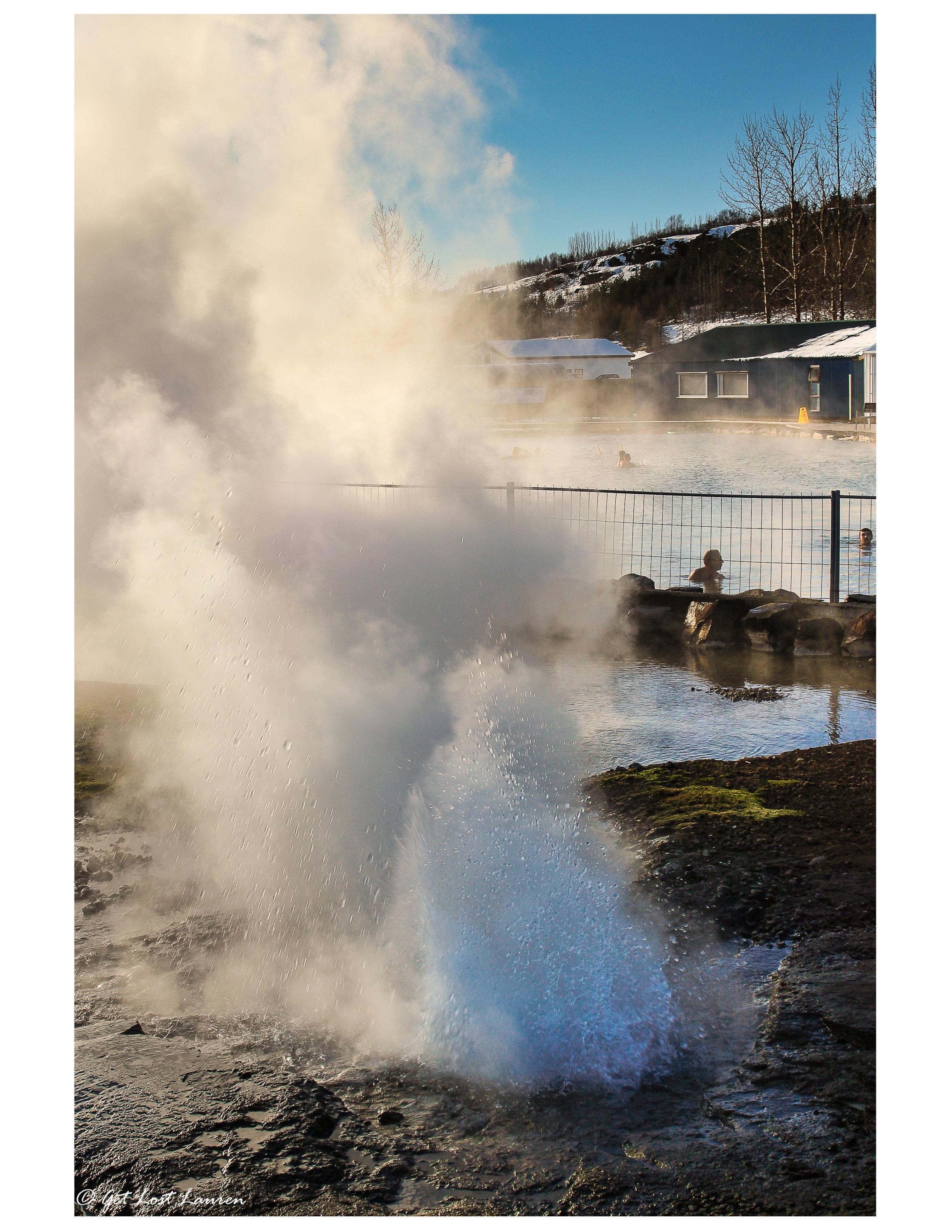 The Secret Lagoon's own mini geyser.