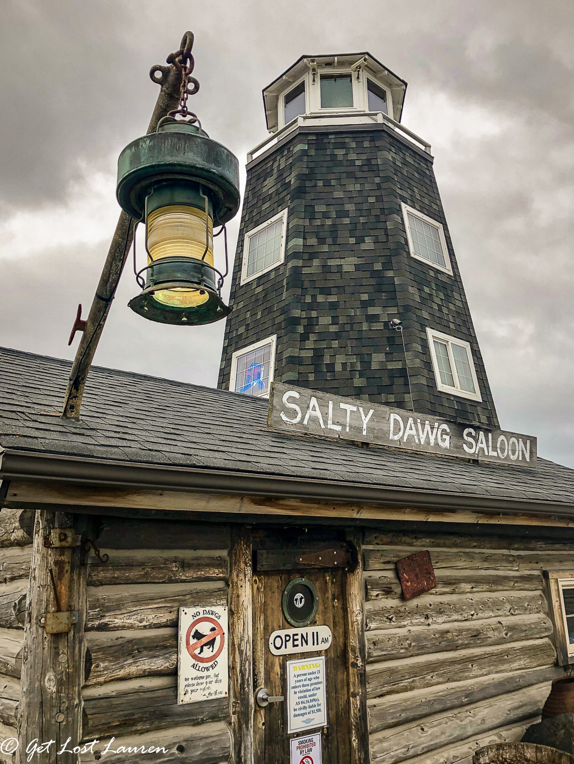 Salty Dawg Saloon on Homer, Spit where you can decorate and pin a dollar on the wall and catch up with the locals and tourists alike.