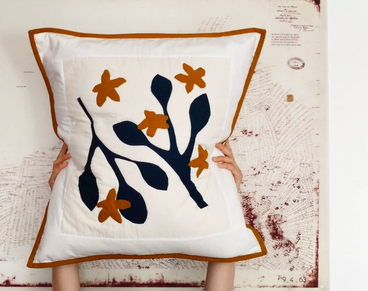 Appliquéd pillow.