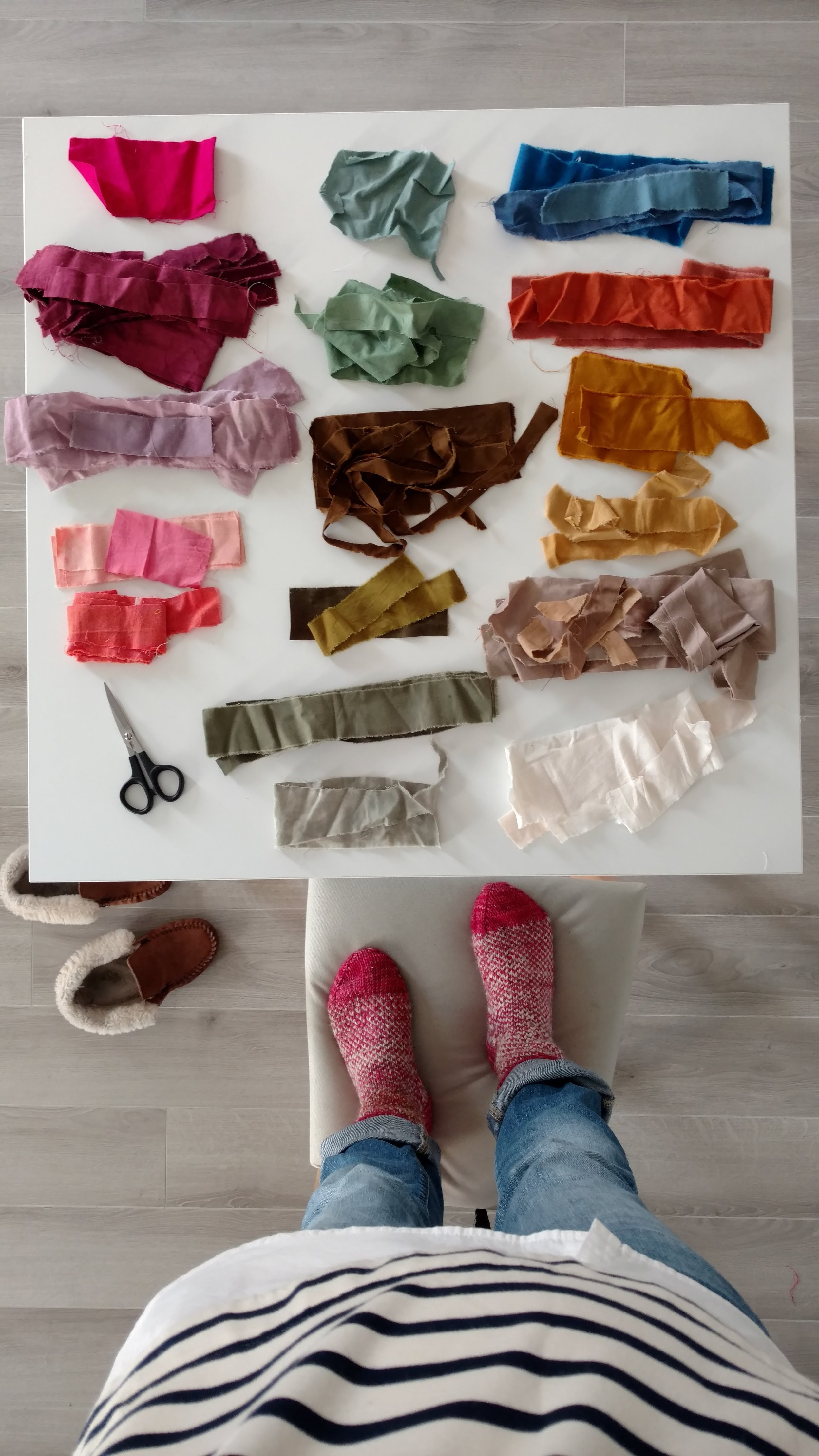Sorting scraps by color.